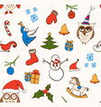 cartoon christmas seamless pattern with vector image vector image