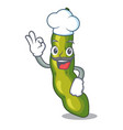 chef vegetables pod green bean in cartoon vector image