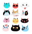 Collection different portraits of cats vector image vector image