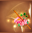 concept hare krishna lotus and flute vector image