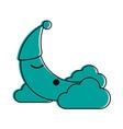crescent moon cartoon sleeping on clouds sleep vector image