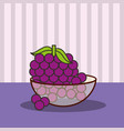 crystal bowl with bunch grapes fresh vector image vector image