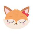 cute animal female fox face with bow cartoon vector image vector image
