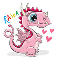cute cartoon dragon on a white background vector image vector image