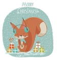 Cute Christmas squirrel cartoon vector image vector image