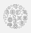 digital brain round simple outline vector image vector image