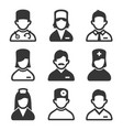 doctor and nurse icons set on white background vector image vector image