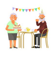elderly people celebrate birthday vector image