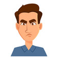 face expression of a man - dissatisfied angry vector image vector image