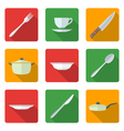 flat dinnerwarwe icons set vector image vector image