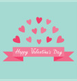 flying pink heart and ribbon print poster happy vector image vector image