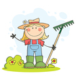 Gardening Female Child Waving A Greeting vector image vector image