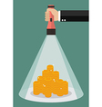 Hand holding flashlight glow to the money vector image vector image