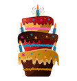 isolated birthday cake vector image vector image