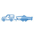 jeep with boat trailer travel tourism image vector image vector image