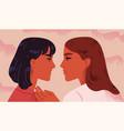 lesbian couple portrait of adorable young women vector image vector image