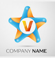 letter v logo symbol in the colorful star on grey vector image vector image