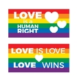 LGBT flag support symbol with lettering in rainbow vector image