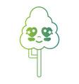 line kawaii cute in love natural tree vector image vector image
