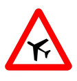 low flying aircraft traffic sign isolated vector image vector image