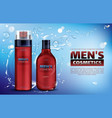men cosmetics shower gel shampoo shaving foam vector image vector image