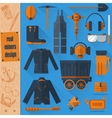 miners set on blue background vector image vector image