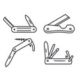 multifunction penknife icons set outline style vector image vector image