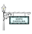 North Carolina retro pointer lamppost vector image