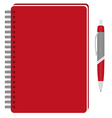 Notebook and ball pen vector image vector image