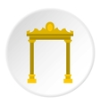 Ornamental arch icon flat style vector image vector image
