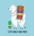 poster with wild and free llama vector image