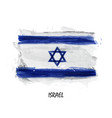 realistic watercolor painting flag israel vector image vector image