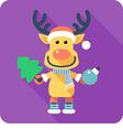 Santas reindeer icon flat design vector image vector image