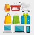set shopping bags with backpack and smartphone vector image vector image