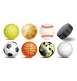 sport balls set of soccer basketball vector image vector image