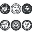 Sun faces vector image vector image