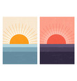 sunset sunrise in sea abstract mid-century modern vector image