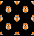 tile pattern with owls on black background vector image vector image
