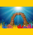 underwater scene with tropical coral reef vector image