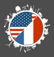 usa and france industry concept vector image vector image