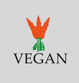 vegan carrot sign vector image vector image