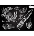 vintage hand drawn seafood set vector image vector image