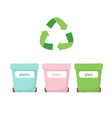 waste sorting - with three different vector image vector image