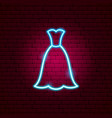 wedding dress neon sign vector image vector image