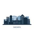 wichita skyline monochrome silhouette vector image vector image