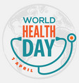 world health day concept poster vector image vector image