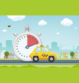 yellow taxi car on road vector image