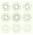 Set of vintage hand drawn sunbursts vector image