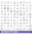 100 smart city icons set outline style vector image vector image