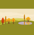 a countryside rural landscape lake utumn with vector image vector image